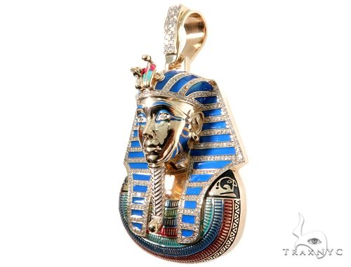 Prong Diamond Pharaoh King Tut Pendant 64025 Metal