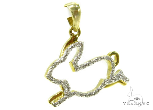 Prong Diamond Rabbit Silver Pendant 37187 Metal