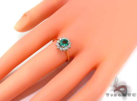 round cut Emerald & Diamond Ring 29239 Engagement