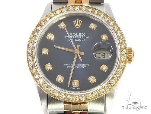 Mens Diamond DateJust Rolex Watch 65639 Diamond Rolex Watch Collection