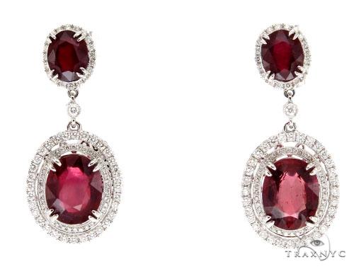 Prong Diamond Ruby Earrings 42428 Stone