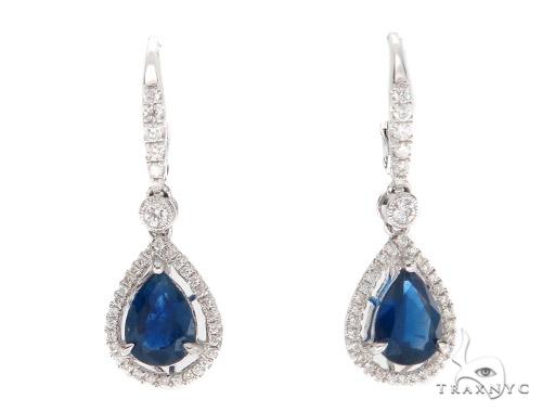 Prong Diamond & Pear-cut Sapphire Earrings 42436 Stone