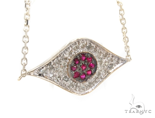 Prong Diamond Ruby Gemstone Necklace 35272 Gemstone