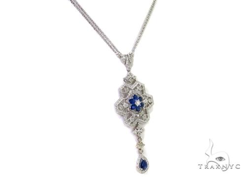 Prong Diamond Sapphire Gemstone Necklace 37979 Gemstone