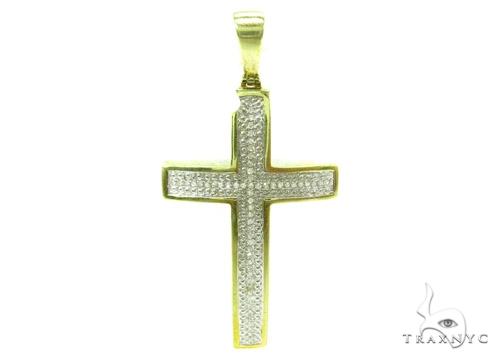 Prong Diamond Silver Cross Crucifix 37181 Silver