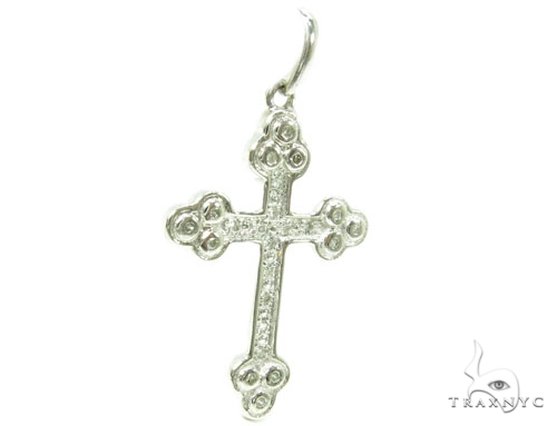 Prong Diamond Silver Cross 37221 Silver