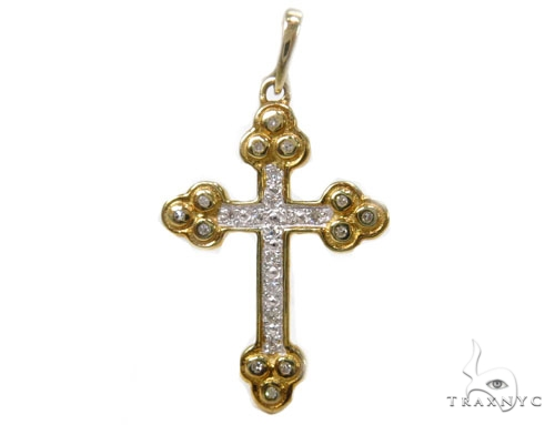 Prong Diamond Silver Cross 37222 Silver