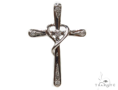 Prong Diamond Silver Cross 37227 Silver