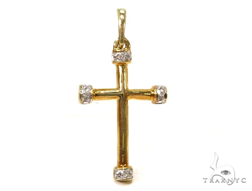 Prong Diamond Silver Cross Crucifix 37228 Silver