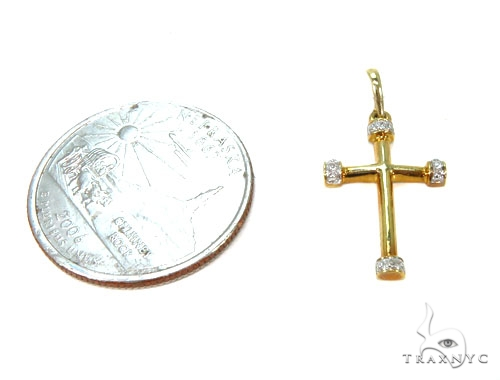 Prong Diamond Silver Cross Crucifix 37228 Silver