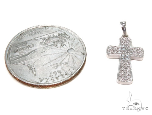 Prong Diamond Silver Cross 37236 Silver