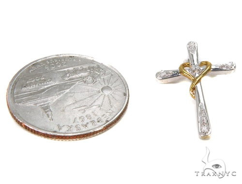 Prong Diamond Silver Cross 37244 Silver
