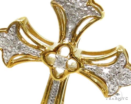 Prong Diamond Silver Cross Crucifix 37247 Silver