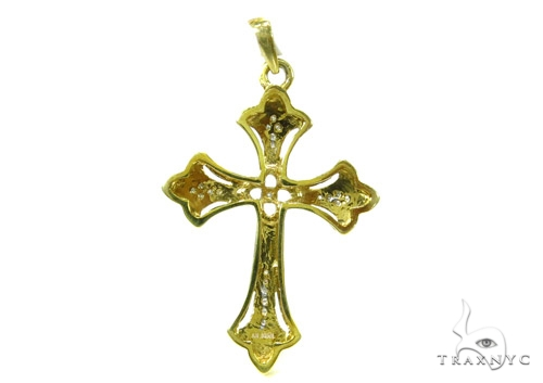 Prong Diamond Silver Cross Crucifix 37247 Silver