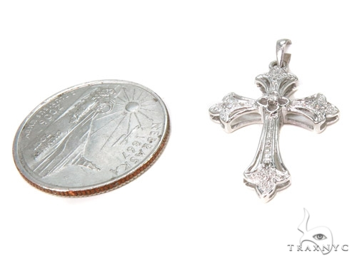 Prong Diamond Silver Cross 37248 Silver
