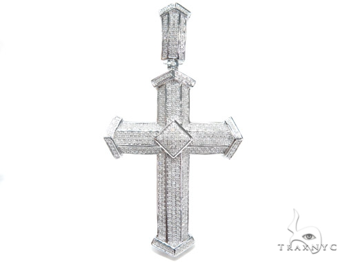Prong Diamond Silver Cross 41773 Silver