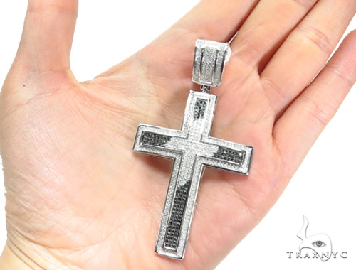 Prong Diamond Silver Cross Crucifix 41775 Silver