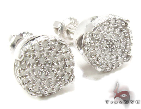 Prong Diamond Silver Earrings 30764 Metal