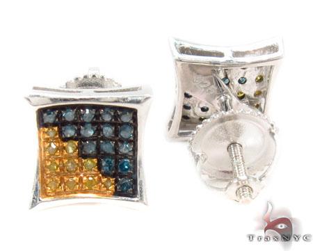 Prong Diamond Silver Earrings 31191 Metal