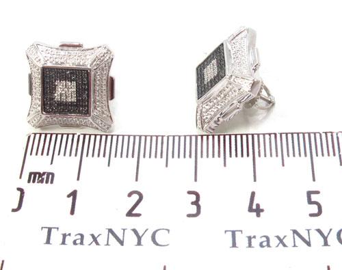 Prong Diamond Silver Earrings 34098 Metal