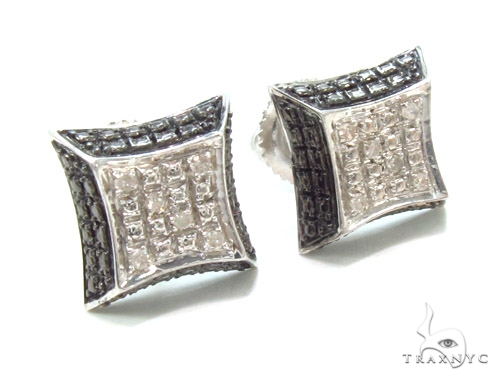 Prong Diamond Silver Earrings 35071 Metal
