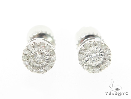 Prong Diamond Silver Earrings 44046 Metal
