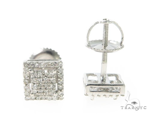Prong Diamond Silver Earrings 49367 Metal