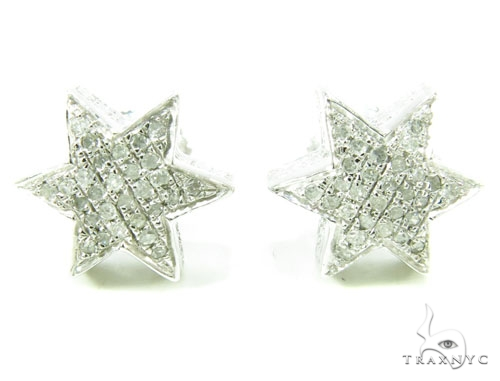 Prong Diamond Star Earrings 36857 Metal