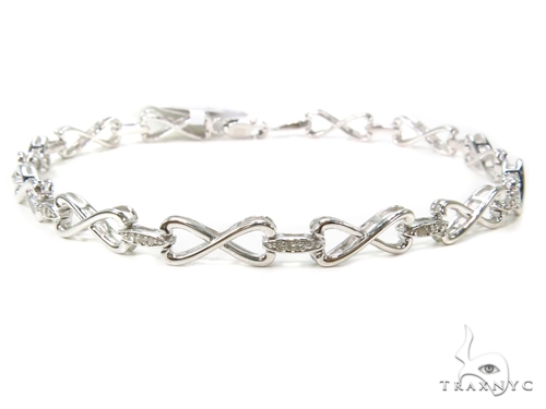 Prong Diamond Sterling Silver Bracelet 40430 Silver & Stainless Steel