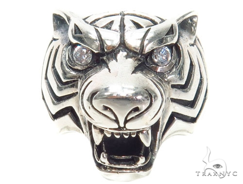 Tiger Diamond Sterling Silver Ring 40942 Metal