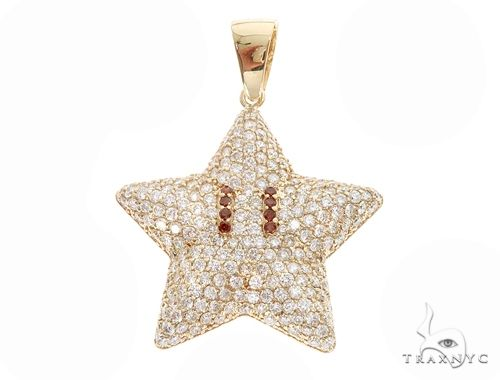 Prong Diamond Mario Star Pendant 64920 Metal