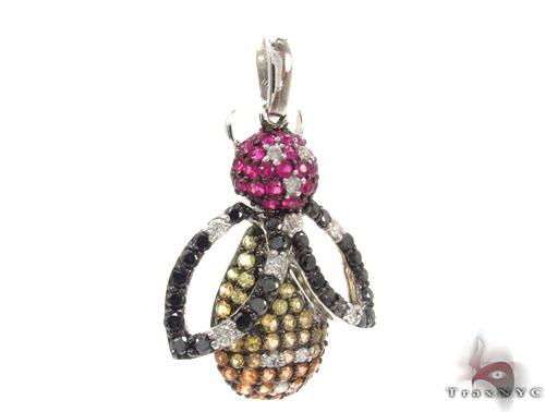 Colored Sapphire & Diamond Bee Pendant 34668 Stone