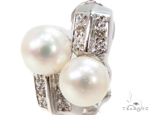 Prong Pearl Diamond Earrings 40798 Stone
