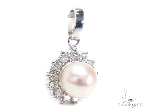 Prong Pearl Diamond Pendant 40938 Stone