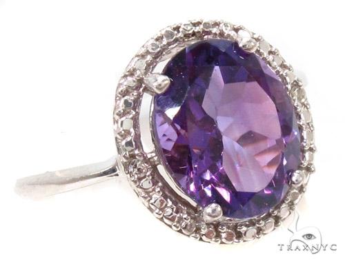 Amethyst Diamond Silver Ring 36825 Anniversary/Fashion