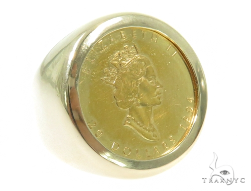 Queen Elizabeth Gold Coin Ring 45398 Metal