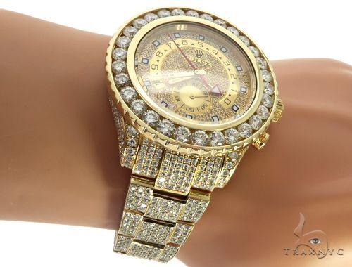 ROLEX 18k GOLD YACHTMASTER II 2 WATCH MODEL # 116688 FULL DIAMOND WATCH 63741 Diamond Rolex Watch Collection