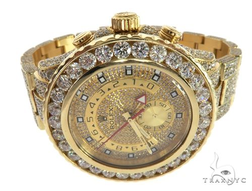 ROLEX 18k GOLD YACHTMASTER II 2 WATCH MODEL # 116688 FULL DIAMOND WATCH 63741 Diamond Rolex Watch Collection