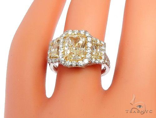 Radiant Cut Fancy Yellow Diamond Engagement Ring 64566 Engagement