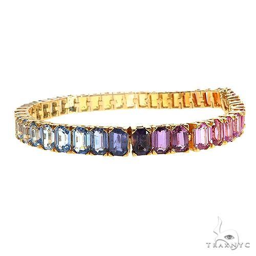 Rainbow Emerald Cut Bracelet 67045 Multicolor SAPPHIRE