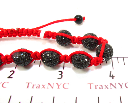 Red Rope with White Color CZ Bead Ball Bracelet Silver