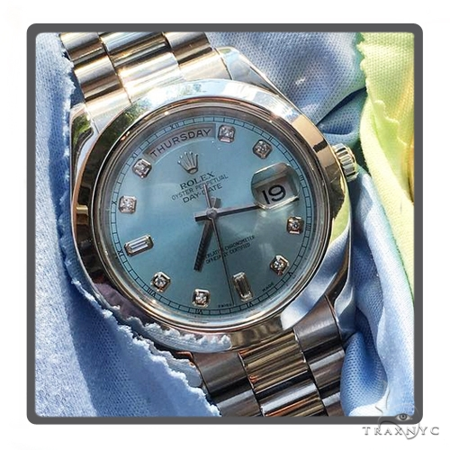 Rolex Day Date II 218206 Platinum Blue Glacier Diamond Dial 45593 Diamond Rolex Watch Collection