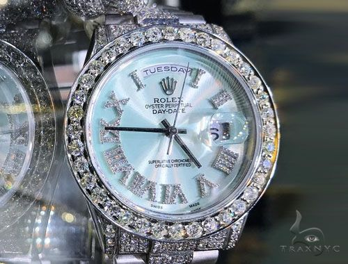 Rolex Day Date Mother of Pearl 18K Gold and Stainless Steel 61377 Diamond Rolex Watch Collection