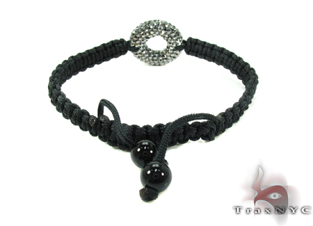 Rope Black Crystal Bracelet Silver & Stainless Steel