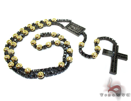 Black Stainless Steel Rosary Chain 24 Inches, 8mm, 86.7 Grams Stainless Steel