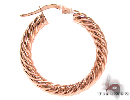 Rose 14K Gold Hoop Earrings Metal