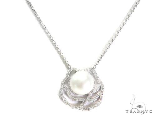 Rose Diamond Pearl Necklace 44602 Diamond