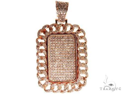 Rose Gold Micro Pave Diamond Dog Tag Pendant 64009 Metal