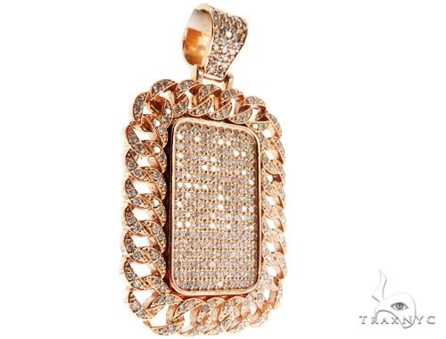 Rose Gold Micro Pave Diamond Dog Tag Set 64008 Metal