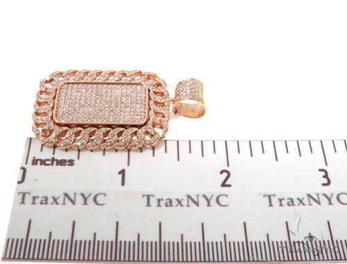 Rose Gold Micro Pave Diamond Dog Tag Set 64008 Metal